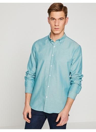 Koton Uzun Kollu Slim Fit Gömlek Yeşil